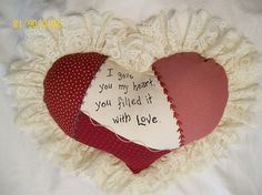 Embroidered HEART PILLOW versed in RED Calico by JleCROW on Etsy, $47.00