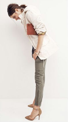 slim denim cargos - love this. Probably would wear moccs or boots rather than heels.
