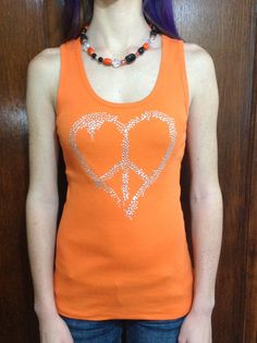 Rhinestone Heart Orange Tank Top by TheresasCreationsBq on Etsy, $15.00