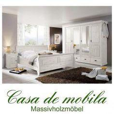Massivholz Schlafzimmer Komplett Kiefer Massiv Weiss ROLAND Landhaus Weiß