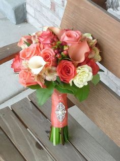 coral wedding flower bouquet, bridal bouquet, wedding flowers, add pic source on comment and we will update it. www.myfloweraffair.com can create this beautiful wedding flower look.