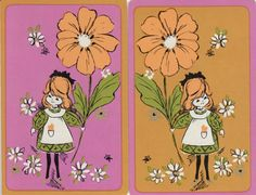 Vintage Swap / Playing Cards - 2 SINGLE- HALLMARK GIRLS & FLOWER in Collectables, Paper, Postcards, Playing Cards | eBay!