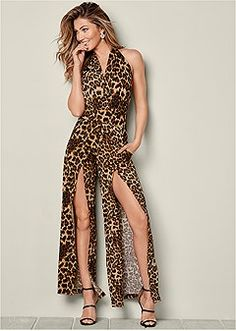 Leopard Print Jumpsuit from VENUS women's swimwear and sexy clothing. Order Leopard Print Jumpsuit for women from the online catalog or Jumpsuit Elegante, Jumpsuit Dressy, White Jumpsuit, Curvy Women Fashion, Womens Fashion For Work, Blazer Fashion, Women's Fashion, Leopard Dress, Street Style Women