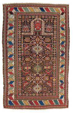 Rare et original CHIRVAN (Caucase), fin du XIXème siècle  De forme prière, fond…