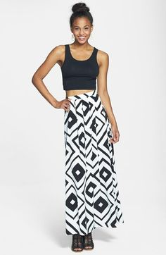 Painted Threads Print Pleat Maxi Skirt (Juniors) available at #Nordstrom  - cool print