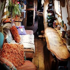 Crochet Pumpkins, Golden Sunsets, and Autumn Spice. * Anzi's Whimsical World- Narrowboat travels, crochet and a little bit of magic Living On A Boat, Tiny Living, Canal Boat Interior, Crochet Pumpkin Pattern, Narrowboat Interiors, Boat Projects, Best Insulation, New Toilet, Interior Exterior