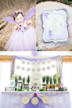 A Dreamy Woodland Fairy Party with pretty tulle fairy costumes & wands, diy toadstool chair cushions, thumbprint tree craft and purple ombre layer cakes.