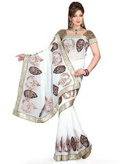 White Color Wrinkle Chiffon Function & Party Wear Sarees : Aditri Collection  YF-41437