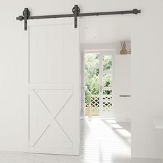 Door Thickness: to Maximum Door Weight: 330 lbs. * Door Width: Up to For Rail Length KIT INCLUDES 1 Rail 2 Door Rollers 2 Door Stops 1 Floor Guide 5 Wall Brackets 2 Anti-Jump Disks 1 Routed Floor Guide + All Installation Hardware *Barndoor not included Wood Barn Door, Wood Doors, Barn Door Floor Guide, Double Barn Doors, Door Kits, Sliding Barn Door Hardware, Wall Brackets, Vintage Industrial, Glass Door