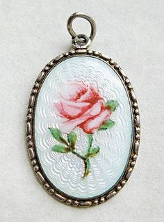 Antique Marius Hammer 930 Silver Enamel Guilloche Norway Rose Pendant from quick-red-fox on Ruby Lane