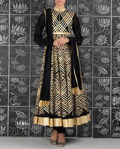 Laser Cut Appliqued Black Anarkali Suit