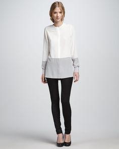 http://ncrni.com/vince-silk-colorblock-blouse-textured-leather-jeans-p-10747.html