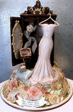 "Armoire L'Amour  A variation on the ""Wedding Dress"" series  reproducing the dress and adding the engagement ring and a photo of the couple."