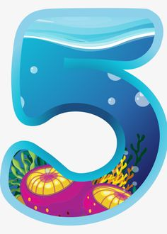 Blue number 5 PNG and Clipart