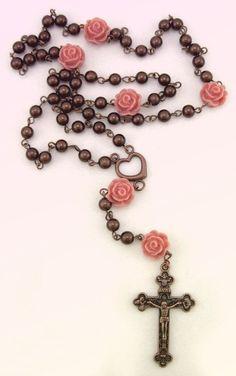 Desert Rose 5 decade brown rosary by Ooh-la-la Beadtique Rosary Bead Tattoo, Rosary Bracelet, Rosary Beads, Rosary Tattoos, Diy Jewelry, Beaded Jewelry, Jewelry Design, Jewelry Making, Catholic Jewelry