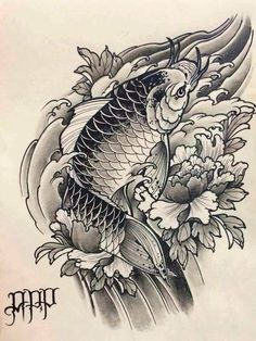 Koi Tattoo Design, Tattoo Designs, Carp Tattoo, Koi Fish Tattoo, Japanese Tattoo Art, Japanese Sleeve Tattoos, Black Koi Fish, Adventure Tattoo, Koi Art
