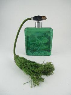 A Malachite Glass Perfume Atomizer