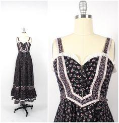 Vintage Gunne Sax Dress 70s Gunne Sax Black by ShudderEmporium