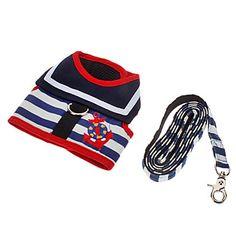 Teste padrão bonito ajustável Harness Marinha e trela para cães (XS-XL) – BRL R$ 44,31