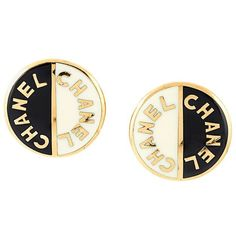 Chanel Vintage Logo Disc Clip-on Earrings found on Polyvore featuring jewelry, earrings, black, vintage jewellery, clip back earrings, disc earrings, chanel jewellery and chanel earrings