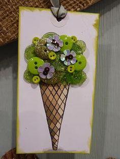button ice cream cone - cute birthday card