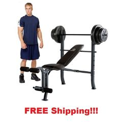 Weight Bench U0026 100 Lb Bar Lifting Home Gym Workout Fitness Leg Exercise  Incline