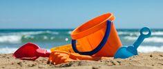 Plastic toys for beach. Children's beach toys - buckets, spade and shovel on san , Summer Pool, Summer Fun, Sand Play, Beach Toys, Baby Steps, Seaside, Kids Toys, Summertime, Surfing