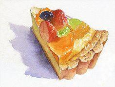 水彩画 「フルーツ タルト」
