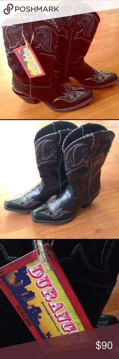 NWT Durango Womens Cowboy Boots NWT. Womens Black Durango Cowboy Boots. SHOE FEATURES Mid-calf height Bootstraps Laced piping Removable Cushion Flex insole Tempered steel shank SHOE CONSTRUCTION Manmade upper Mesh lining EVA midsole Rubber outsole SHOE DETAILS Round toe Pull-on Padded footbed 2.25-in. heel 11-in. shaft 14-in. circumference.                                                  Originally $135 (shown at Kohls in the pictures). Check out my other listings for bundle deals! Tags…