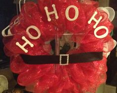 Items similar to Red, Green, and White Tulle Christmas wreath on Etsy