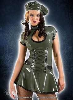Rubber HNR Army Dress Latex Kleid: Very sexy military style mini dress in olive green rubber with black trim. Epaulettes, laced midriff and faux patch pockets adorn the body whilst front chest keyhole promotes the bust. Zip fastens at the back for easy entry and a matching beret is also included....