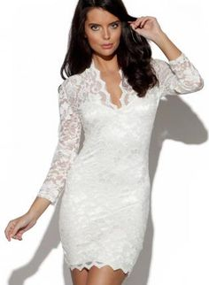 Ustrendy Ivory Lace Dress With V Neck Front White Long Sleeve