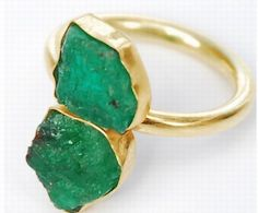 Double-emerald nugget gold ring by Pippa Small for Turquoise Mountain. Jewelry from the collection helps benefit traditional artisans and craftspeople in Afghanistan.