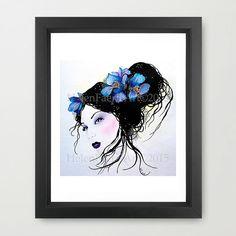 Blue Poppy Art Print Blue Poppy Fairy Poppy by HelenFaerieArt