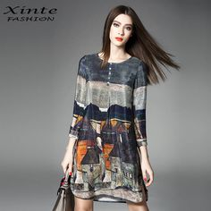 100% Real Silk Dress 2017 Women Spring Vintage A-Line Printing Loose Plus Size Dresses Top Quality Three Quarter Sleeves #womens #dress #beauty #elegant #fashion