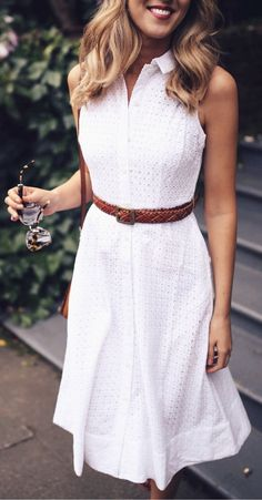 #summer #outfitsWhite Shirt Dress + Brown Leather Belt