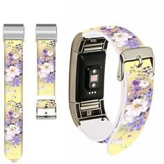 Little Flowers Bands for Fitbit Charge 2,Ecute Replacement Leather Band for Fitbit Charge 2 Bands Strap with Metal Co... Fitbit Charge, Fitbit Flex, Charge 2 Bands, Little Flowers, This Or That Questions, Metal, Leather, Stuff To Buy, Small Flowers