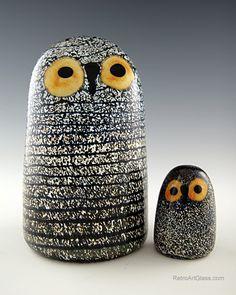 Oiva Toikka   Toikka for Iittala baby and elder Barn Owl glass art set