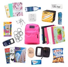 """""""What's in my backpack?"""" by samantha1357 ❤ liked on Polyvore"""