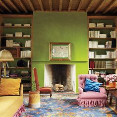 This rustic, Belgian library has us #green with envy. | Photo by @MiguelFloresVianna, design by Jean-Philippe Demeyer