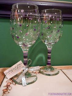 Purple Dot Wine Glasses
