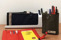 This slim pen case is the perfect size for slipping into a bag or coat pocket and opens up to let you see all of your supplies at a glance.