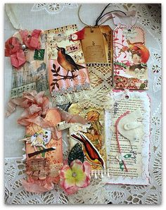 Old Cards and abit of lace and inspiration and ribbon!