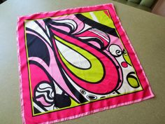 Vintage Scarf, Pucci Scarf, Designer Scarf, Italian Designer, Mod Colors, Mod Print, Pink Chartreuse Black, Vintage Silk Scarf, Emilio Pucci
