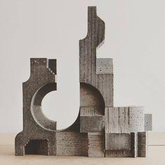 Concrete Modular Sculpture by David Umemoto, 2015 Concrete Architecture, Art And Architecture, Contemporary Architecture, Contemporary Art, Architecture Diagrams, Concrete Sculpture, Concrete Art, Concrete Blocks, Abstract Sculpture