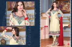 Ethnic Party Wear  Georgette Brasso Semi-Stitched straight cut Cream and Red Salwar suit with heavy thread embroidery. Comes with Santoon Inner And Bottom and Chiffon dupatta.