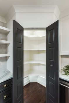 The Leading 16 Cooking Area Cupboard Ideas For 2019 Nice Gray Kitchen Pantry Cabinets Only In Homesable Design Corner Kitchen Pantry, Kitchen Pantry Design, Kitchen Pantry Cabinets, Kitchen Tops, Kitchen Shelves, New Kitchen, Kitchen Storage, Book Shelves, Corner Pantry Cabinet