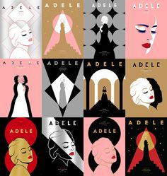 Adele 2016 Tour Posters - XL Recordings - Set of 27 official posters for Adele's 2016 European tour. Each night of the tour had a unique poster, only available to buy at the concert venue. 200 screen prints were produced of each design, with 5 secretly signed by Adele. Printed on G.F. Smith papers with metallic inks.