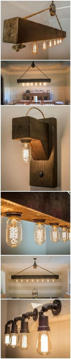 Reclaimed barn wood chandeliers and sconces with Edison bulbs. http://rusticartistry.com/