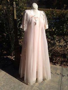 734fe567b30 FOR SALE   sjcintn gmail.com Vintage Shadowline Chiffon Peignoir Nightgown  Set Sz Small Lace Peachy. 47